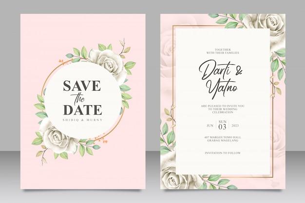 Mooie bloemen frame bruiloft kaart ingesteld sjabloon Premium Vector