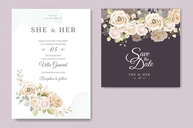 Mooie bloemen frame bruiloft uitnodiging kaartsjabloon Premium Vector