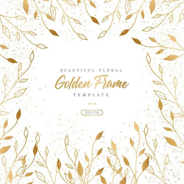 Mooie bloemen gouden frame sjabloon Gratis Vector