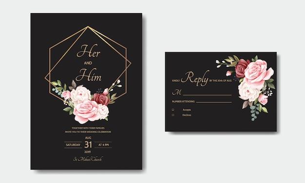 Mooie bloemen krans bruiloft uitnodiging kaartsjabloon Premium Vector