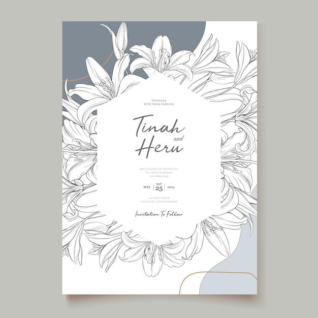 Mooie bloemen lelie bloemen uitnodigingskaart Gratis Vector