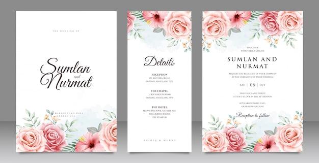 Mooie bloemen tuin bruiloft uitnodigingskaart ingesteld sjabloon Premium Vector