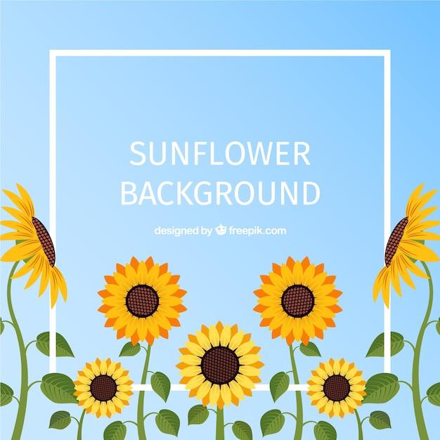 Mooie bloemenachtergrond met vlak ontwerp Gratis Vector