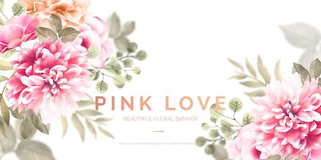 Mooie bloemenbanner met roze bloemen Gratis Vector
