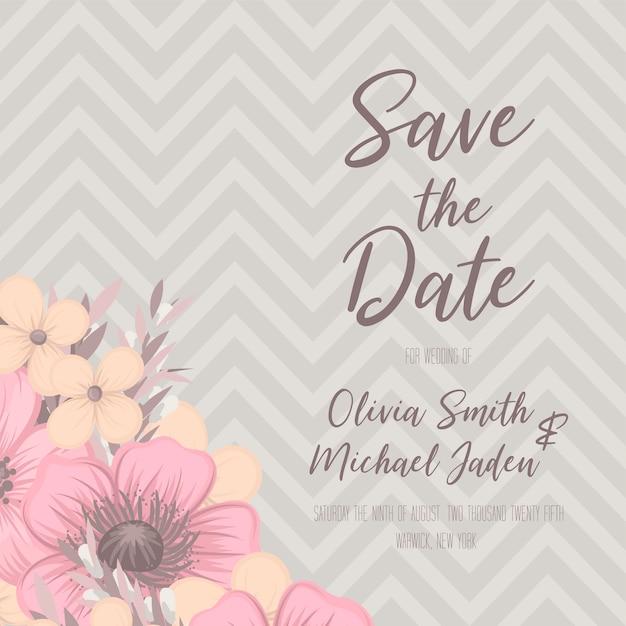 Mooie bloemenhuwelijksuitnodiging Premium Vector