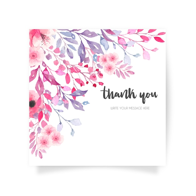 Mooie bloemenkaart met dankbericht Gratis Vector