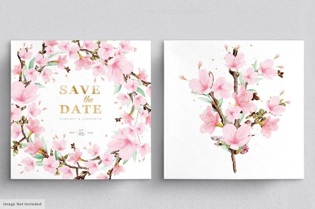 Mooie bloemenkrans en boeket met elegante bloemen Gratis Vector