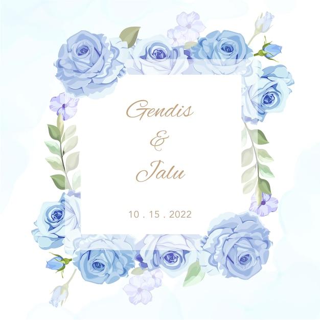 Mooie bloemenlijst huwelijkskaart Premium Vector