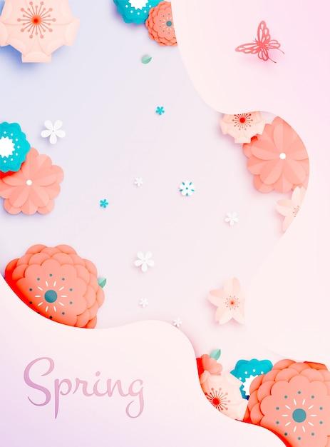 Mooie bloementocument kunst met de vectorillustation van de pastelkleurregeling Premium Vector