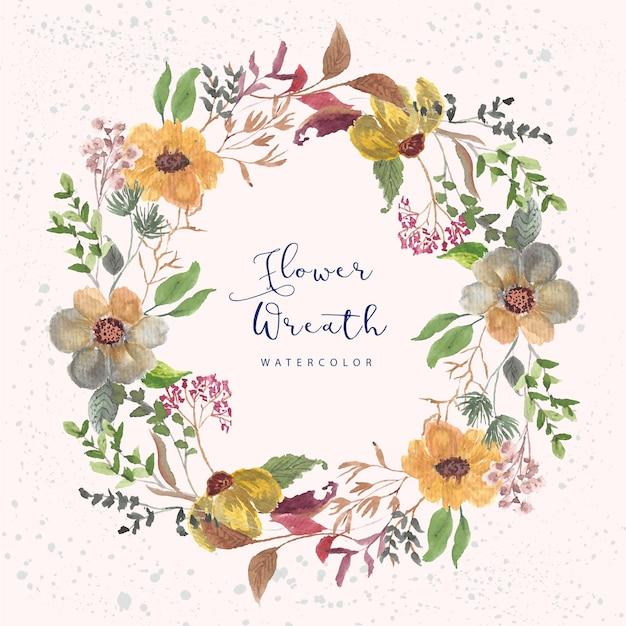 Mooie bloementuin aquarel krans Premium Vector
