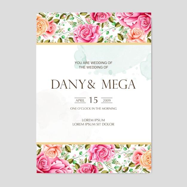 Mooie bloemenwaterverfhuwelijkskaart Premium Vector