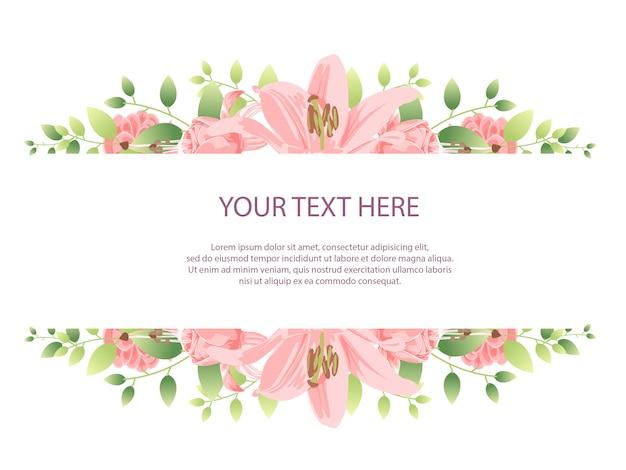 Mooie bloemframe achtergrond met roze bloem Premium Vector