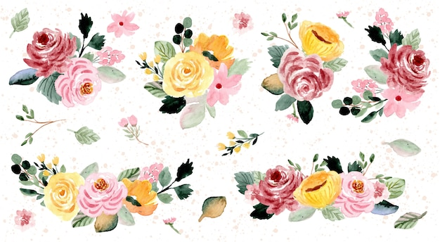Mooie bloemstuk aquarel collectie Premium Vector