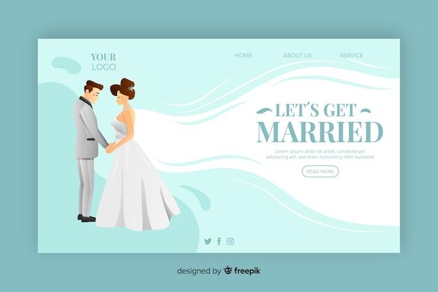 Mooie bruiloft bestemmingspagina Gratis Vector