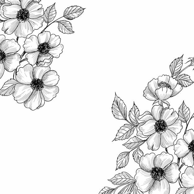 Mooie bruiloft bloemen schets achtergrond Gratis Vector