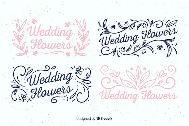 Mooie bruiloft bloemist logo's Premium Vector