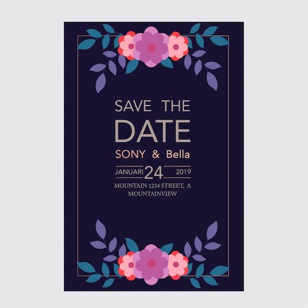 Mooie bruiloft en uitnodigingskaart met bloemen en bladeren frame Premium Vector