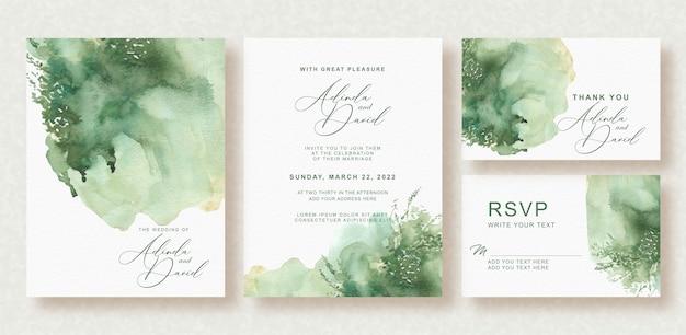 Mooie bruiloft kaart aquarel achtergrond met groen splash en sparkle Premium Vector