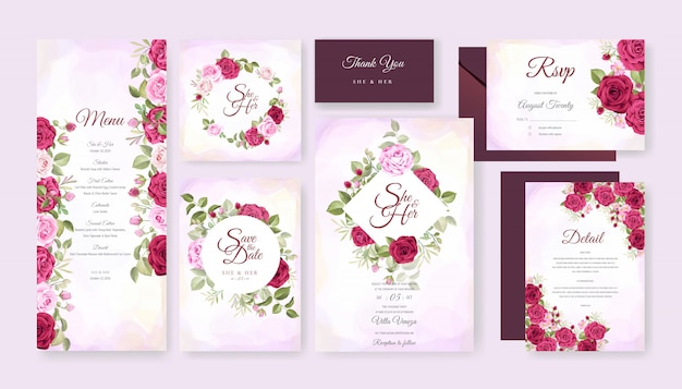 Mooie bruiloft kaart met bloemen en bladeren achtergrond sjabloon Premium Vector