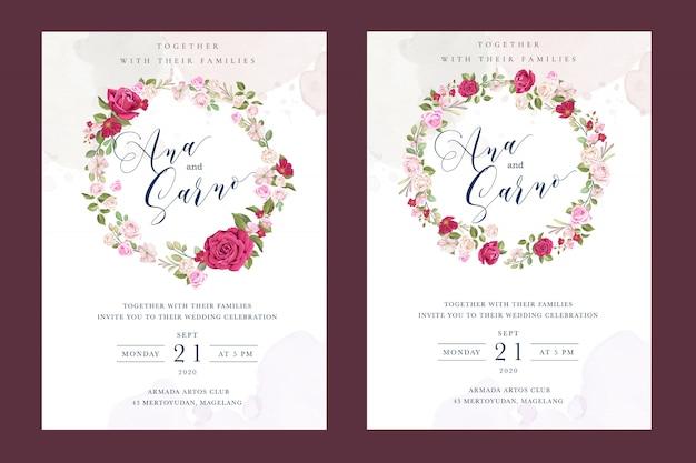 Mooie bruiloft kaartsjabloon met kleurrijke kastanjebruine rozen Premium Vector