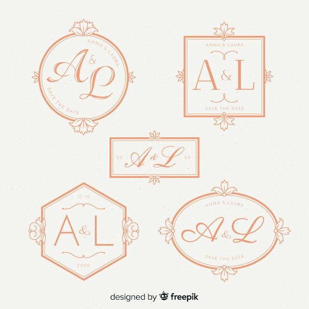 Mooie bruiloft monogram logo's Gratis Vector