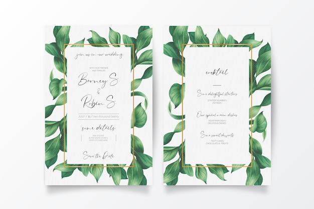 Mooie bruiloft uitnodiging en menu met wilde bladeren Gratis Vector