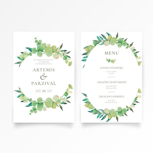 Mooie bruiloft uitnodiging en menusjabloon met bloemen ornamenten Gratis Vector