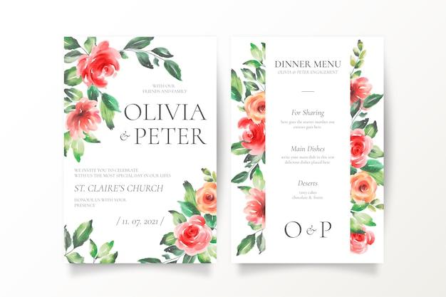 Mooie bruiloft uitnodiging en menusjabloon Gratis Vector