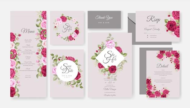 Mooie bruiloft uitnodiging kaartsjabloon ingesteld met bloemdessin Premium Vector
