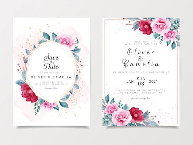 Mooie bruiloft uitnodiging kaartsjabloon ingesteld met geometrische floral frame en goud glitter Premium Vector