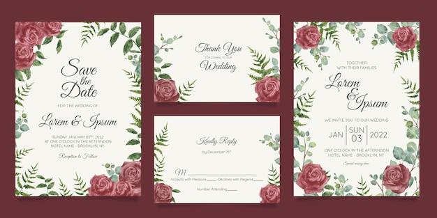 Mooie bruiloft uitnodiging kaartsjabloon ingesteld met geometrische floral frame Premium Vector
