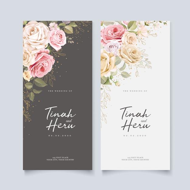 Mooie bruiloft uitnodiging kaartsjabloon met bloemen en bladeren Gratis Vector