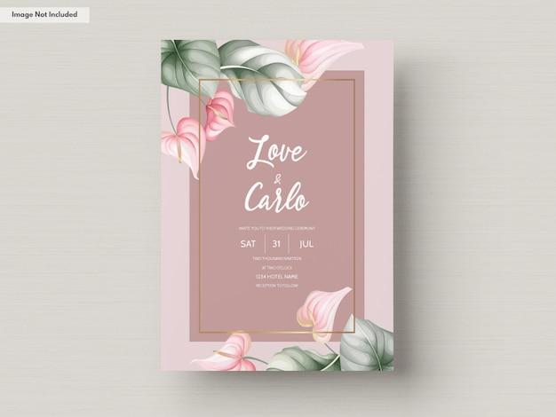 Mooie bruiloft uitnodiging kaartsjabloon Gratis Vector