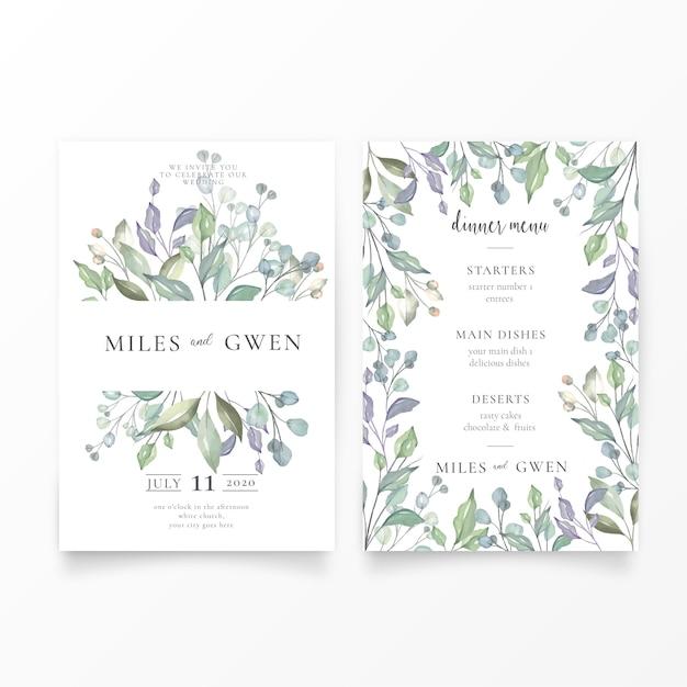 Mooie bruiloft uitnodiging & menusjabloon Gratis Vector