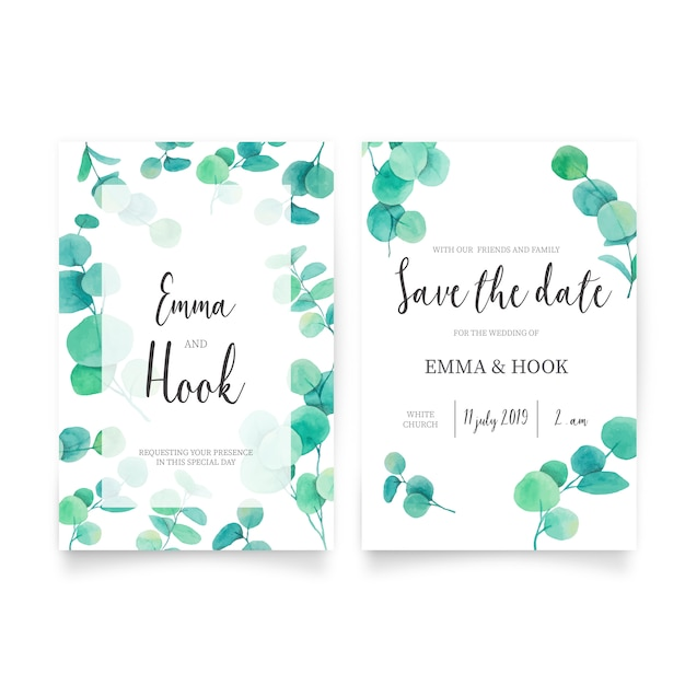 Mooie bruiloft uitnodiging met eucalyptus bladeren Gratis Vector