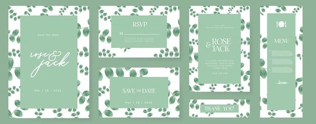 Mooie bruiloft uitnodiging met eucalyptusbladeren Premium Vector