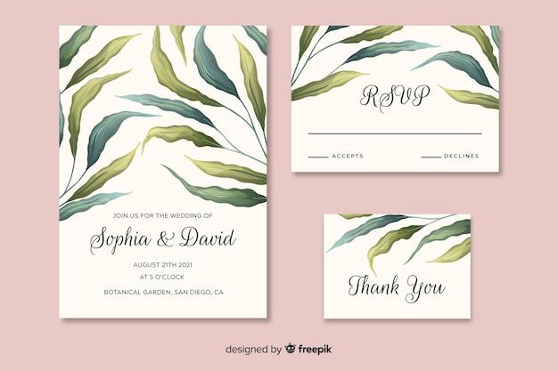 Mooie bruiloft uitnodiging met hand getrokken bladeren Gratis Vector