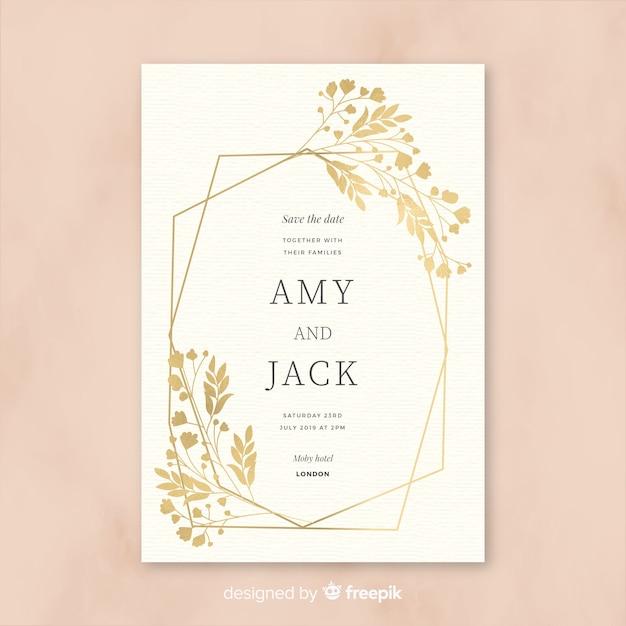 Mooie bruiloft uitnodiging sjabloon in plat ontwerp Gratis Vector