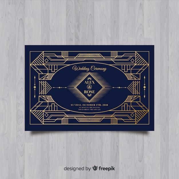 Mooie bruiloft uitnodiging sjabloon met art deco-concept Gratis Vector