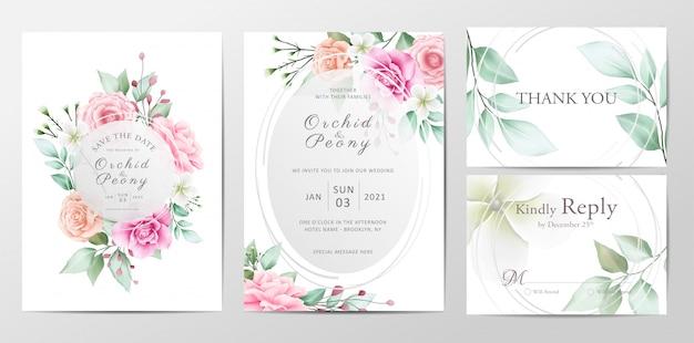 Mooie bruiloft uitnodiging sjabloon set van aquarel bloemen Premium Vector