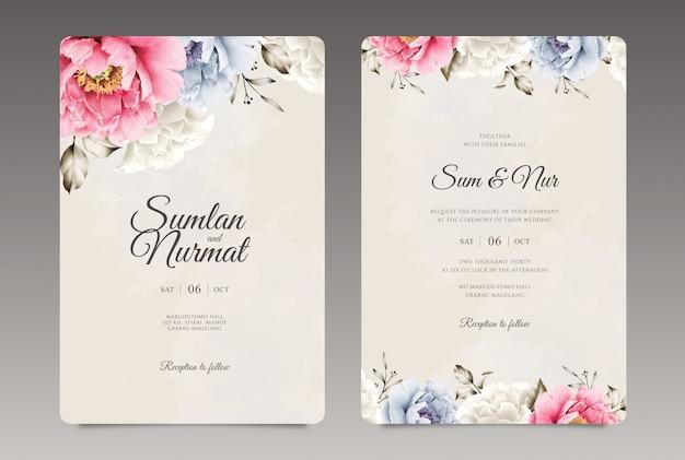 Mooie bruiloft uitnodiging sjabloon Premium Vector