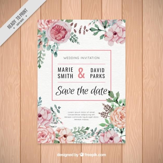 Mooie bruiloft uitnodiging van aquarel bloemen Gratis Vector
