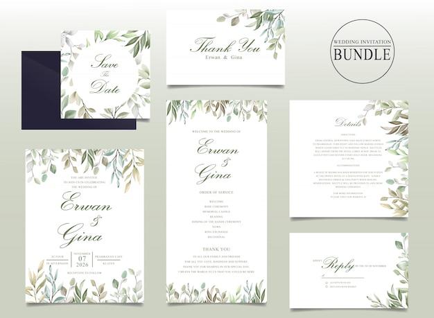 Mooie bruiloft uitnodigingskaart bundel met aquarel bladeren Premium Vector