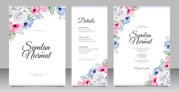 Mooie bruiloft uitnodigingskaart ingesteld sjabloon met kleurrijke bloemen Premium Vector