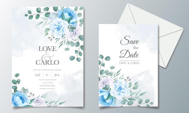 Mooie bruiloft uitnodigingskaart met bloemdecoratie Gratis Vector