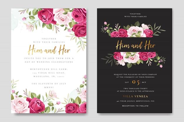 Mooie bruiloft uitnodigingskaart met bloemen en bladeren krans Premium Vector