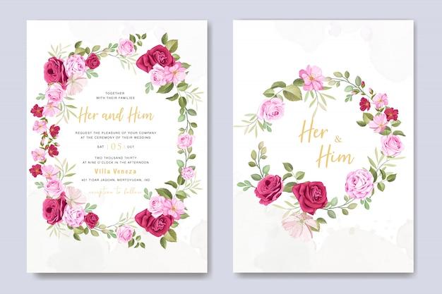 Mooie bruiloft uitnodigingskaart met bloemen en bladeren sjabloon Premium Vector