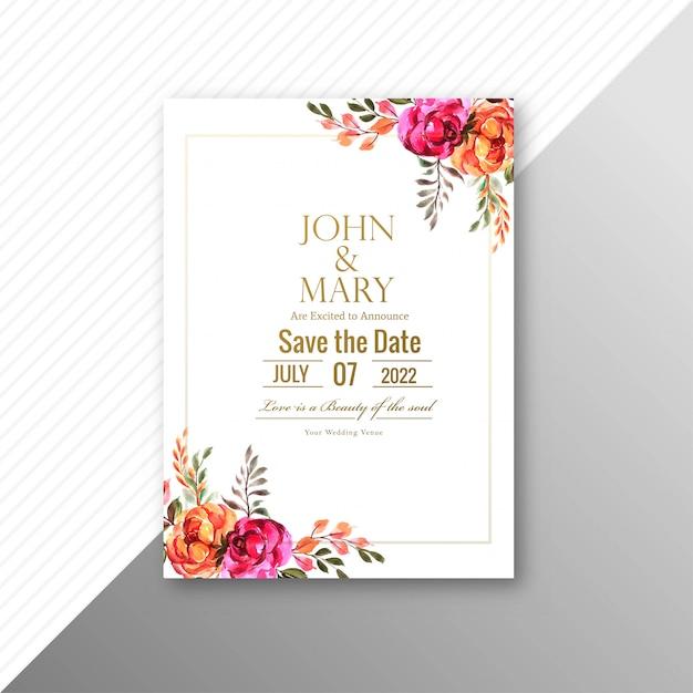 Mooie bruiloft uitnodigingskaart met bloemen frame sjabloon Gratis Vector