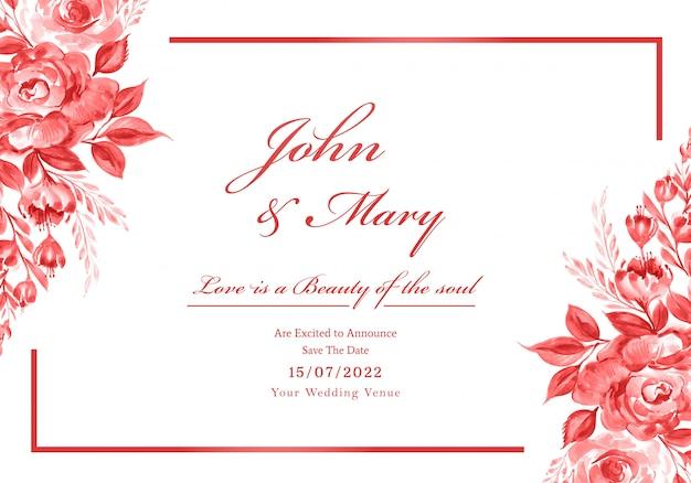 Mooie bruiloft uitnodigingskaart met bloemen frame Gratis Vector