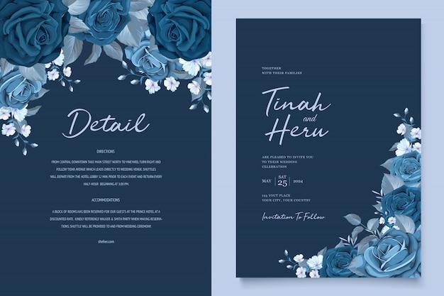 Mooie bruiloft uitnodigingskaart met klassieke blauwe bloemen krans Gratis Vector